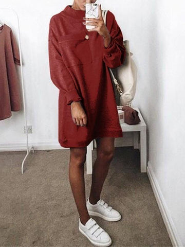 New Red Pockets Round Neck Long Sleeve Casual Mini Dress