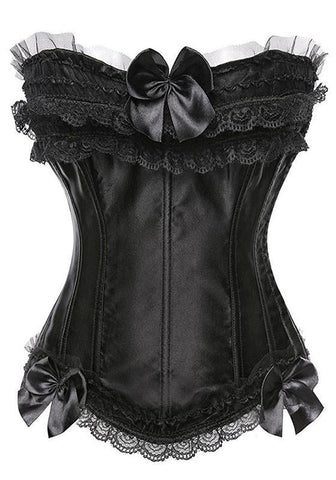 Black Patchwork Lace Bow Collarless Polyester Vest