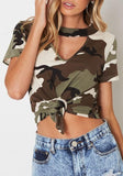 Army Green Camouflage Print Cut Out Knot V-neck Casual T-Shirt