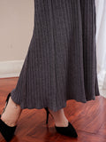 Newbabychic Solid Maternity Elastic Waist Long Pleated Skirt