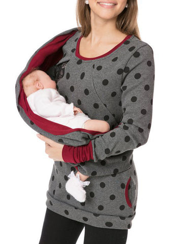 Newbabychic Multi-Function Maternity O-Neck Printed Nursing Sweatshirt