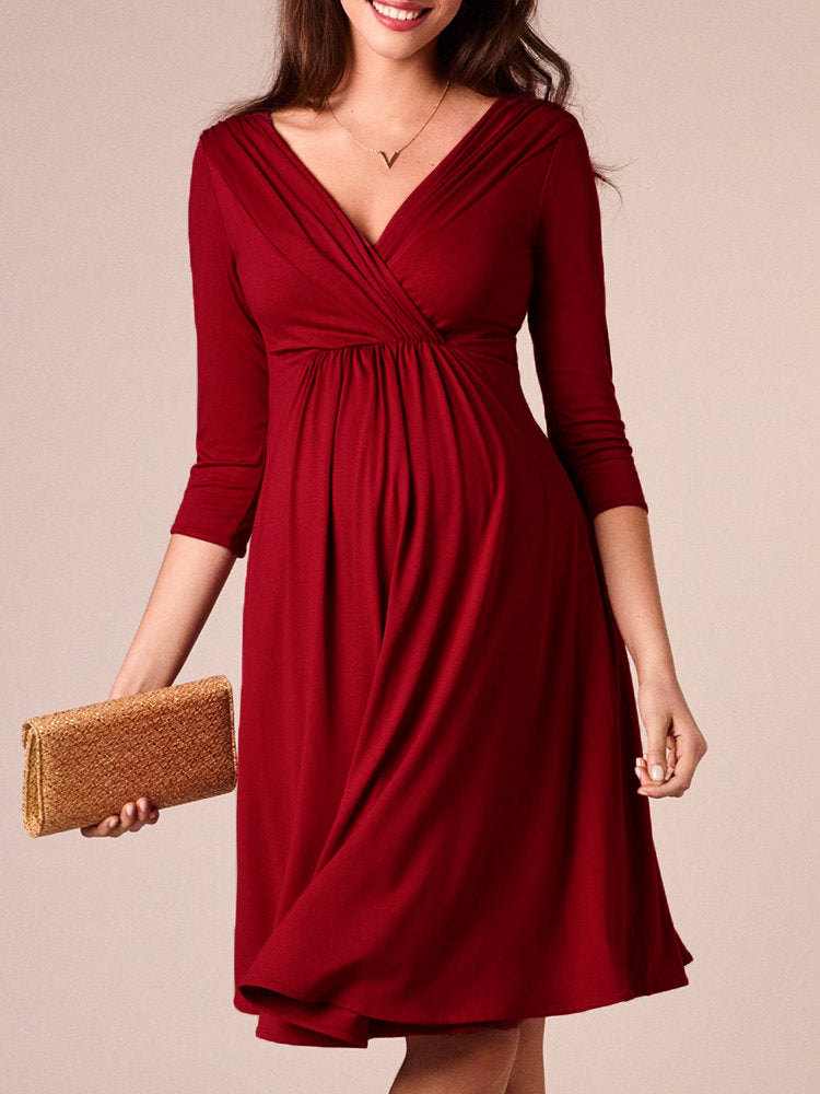 Newbabychic Solid Color Maternity V-Neck Half Sleeve Elegant Dress