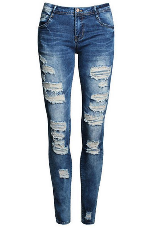 Blue Cut Out Pockets Stretch Mid Waisted Fashion Bodycon Girls Denim Long Jeans