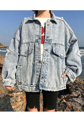 Blue Pockets Single Breasted Cut Out Ripped Denim Boyfriend Casual Cardigan Coat