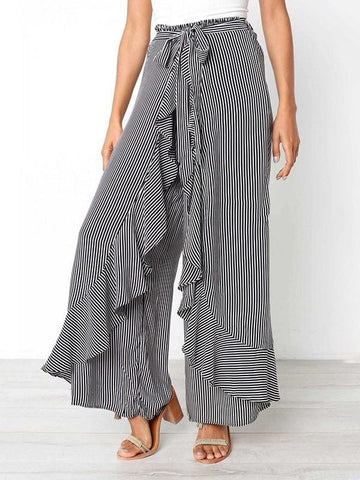 Black-White Striped Cascading Ruffle Lace-up High Waisted Fashion Wide Leg Long Pants