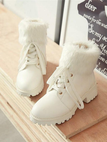 New White Round Toe Chunky Fashion Ankle Boots