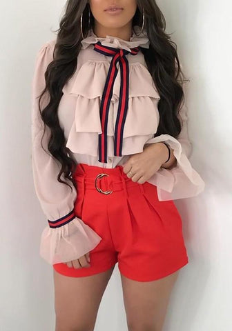 Pink Striped Single Breasted Cascading Ruffle Office Worker/Daily Chiffon Blouse