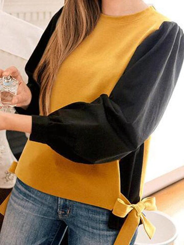 New Yellow Patchwork Bow Going out Casual Cardigan Sweatshirt