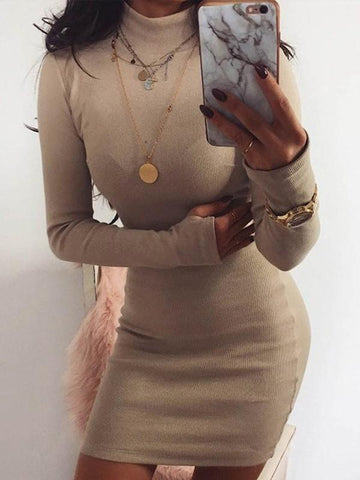 Apricot Plain High Neck Going out Party Mini Dress