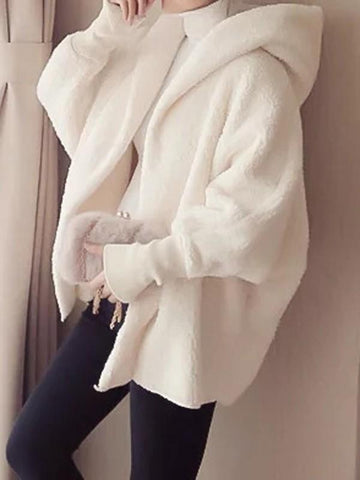 New White Hooded Long Sleeve Going out Faux Fur Coat