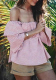 Pink-White Striped Ruffle Off Shoulder Backless Sweet Going out Blouse