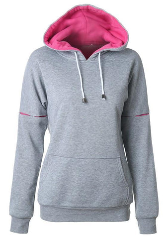 Grey Drawstring Pockets Round Neck Long Sleeve Hooded Sweatshirt