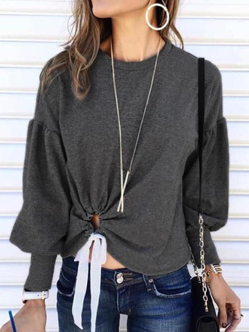 Grey Patchwork Drawstring Cut Out Irregular Round Neck Long Sleeve T-Shirt