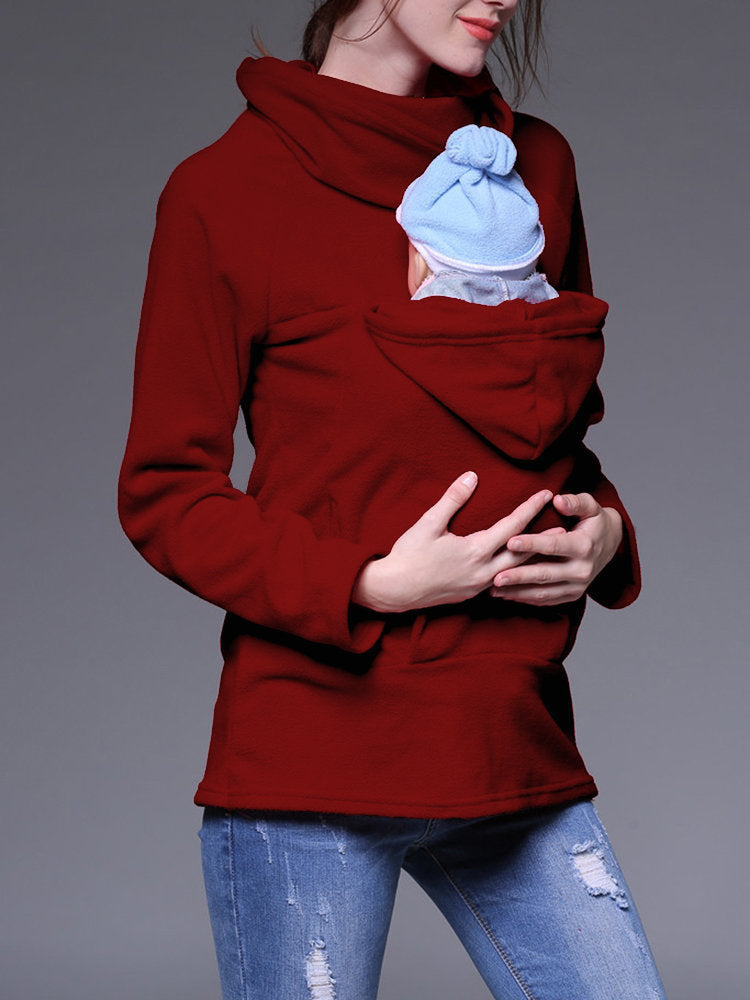 Newbabychic Mom And Baby Carrier Women Stand Collar Coat Maternity Sweatshirt