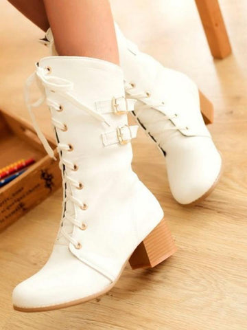 New Beige Round Toe Rivet Fashion Mid-Calf Boots
