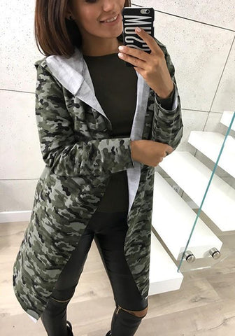 Camouflage Pockets Hooded No Button Fashion Coat