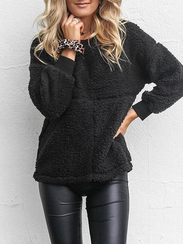 New Black Long Sleeve Round Neck Casual Sweet Going out Sweatshirt