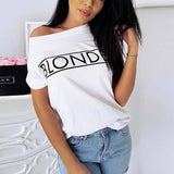White Letter Print Round Neck Short Sleeve Casual T-Shirt