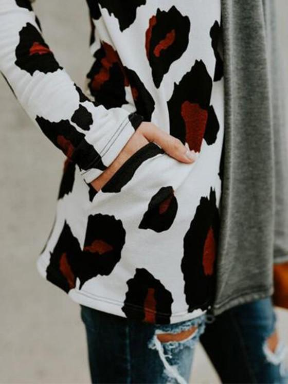 Multicolor Floral Print Pockets No Button Casual Coat