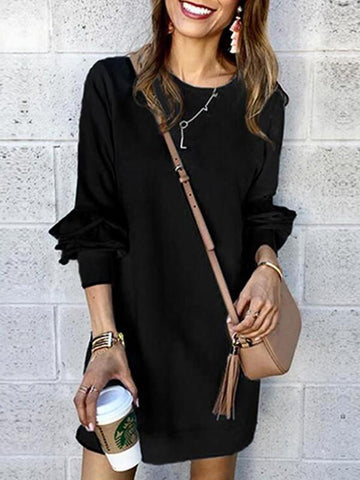 New Black Plain Ruffle Long Sleeve Going out Mini Dress