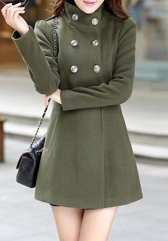 Army Green Patchwork Pockets Double Breasted Band Collar Long Sleeve Casual Coat