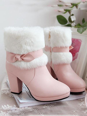 New Pink Round Toe Chunky Bow Fashion Ankle Boots