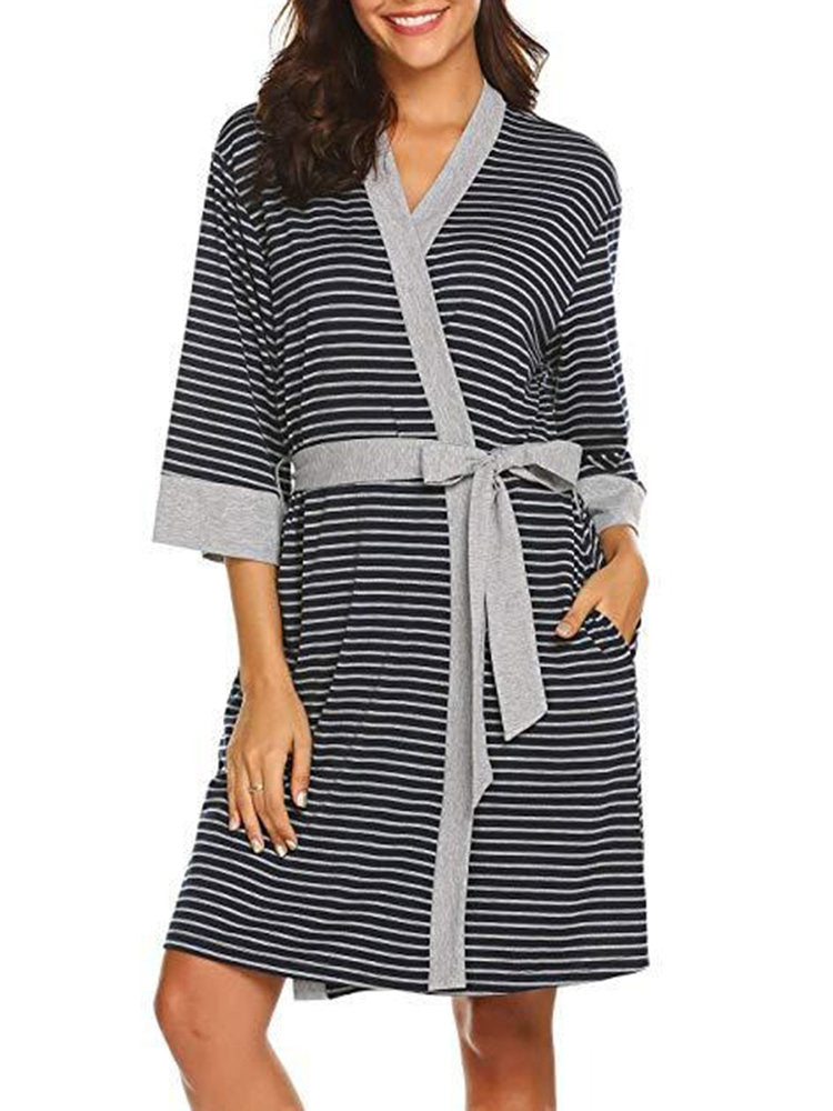 Newbabychic Striped Print Maternity Long Sleeve Sleep Dress
