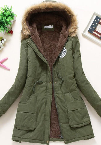 New Army Green Drawstring Pockets Faux Fur Lined Hooded Parka Long Sleeve Coat