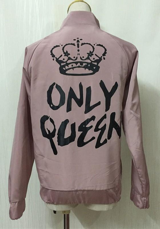 Pink Monogram Zipper Band Collar Long Sleeve Fashion Coat