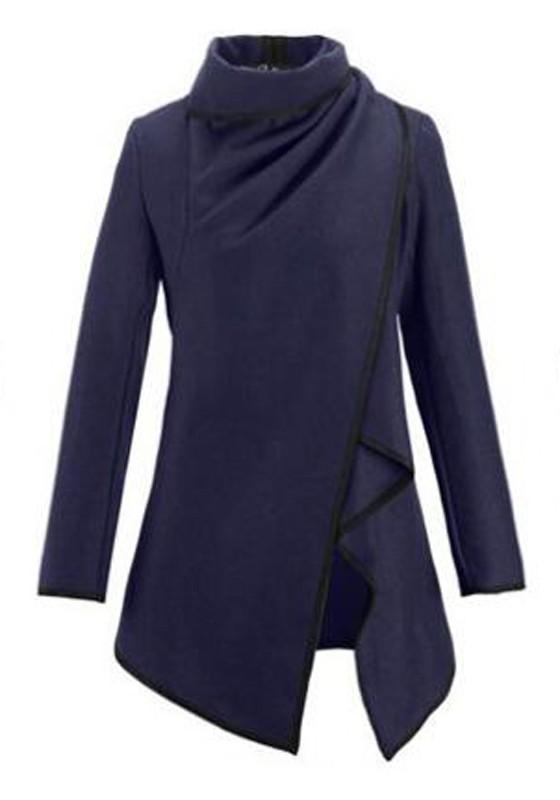 Navy Blue Irregular Peplum Turndown Collar Plus Size Boyfriend Casual Wool Coat