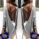 Grey Cut Out Round Neck Long Sleeve Fashion T-Shirt