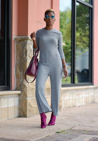 New Grey Cut Out High Waisted 3/4 Sleeve Wide Leg Formal Long Jumpsuit