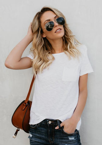White Pockets Round Neck Simple Casual Going out T-Shirt
