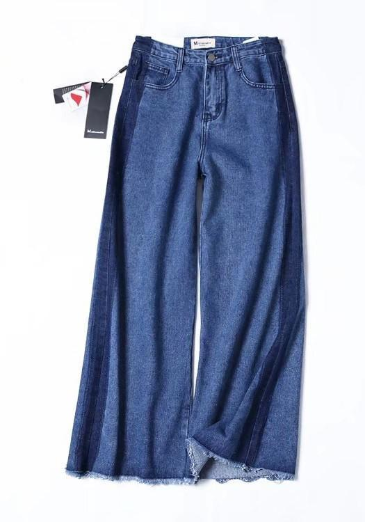 Dark Blue Buttons Pockets High Waisted Mom Boyfriend Wide Leg Long Jeans