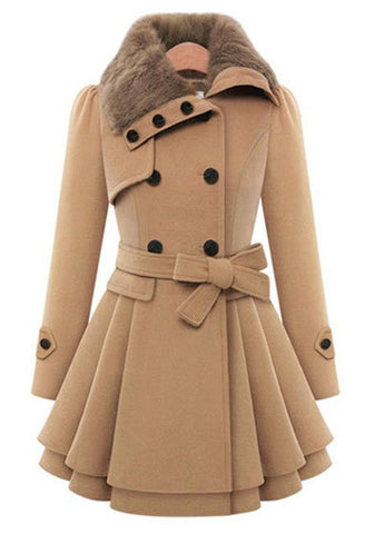 Camel Plain Pleated Fur Buttons Belt Double Breasted Peplum Lapel Wool Coat