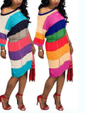 New Pink Rainbow Striped Print Asymmetric Shoulder Plus Size Half Sleeve Casual Slouchy Fashion Midi Dress
