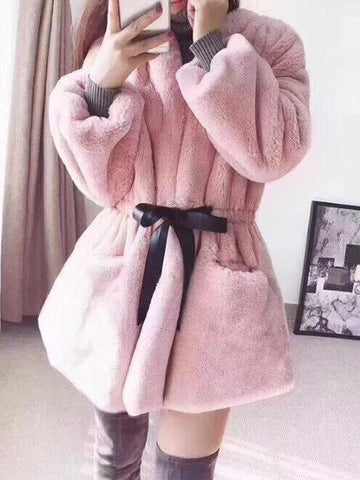 Pink Pockets Drawstring Lace-up V-neck Long Sleeve Going out Faux Fur Coat