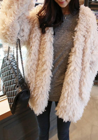 White Faux Fur Going Out Office Worker/Daily Cardigan Coat