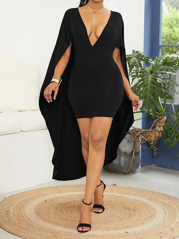 Black Pleated Deep V-neck With Cloak Bodycon Elegant Party Maxi Dress