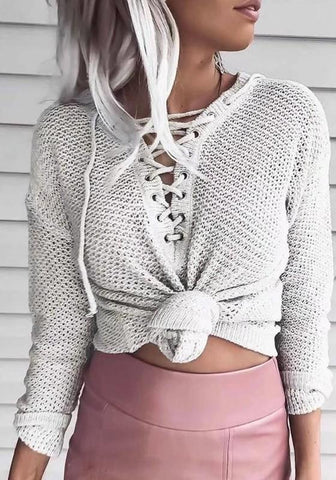 White Drawstring V-neck Long Sleeve Casual Pullover Sweater