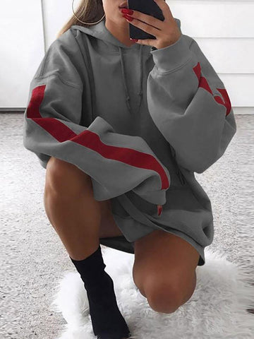 Grey Hit Color Hooded Long Sleeve Boyfriend Mini Dress