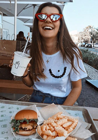White Patchwork Sequin Eyes Print Round Neck Short Sleeve Going out Casual T-Shirt