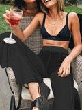 New Black Cut Out Cascading Ruffle Bell Bottoms Fishnet High Waisted Long Flare Pants