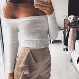 White Off Shoulder Boat Neck Fashion Cotton Crop T-Shirt