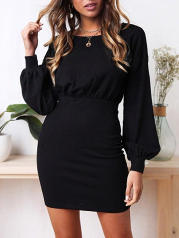 New Black Ruffle Round Neck Long Sleeve Fashion Mini Dress