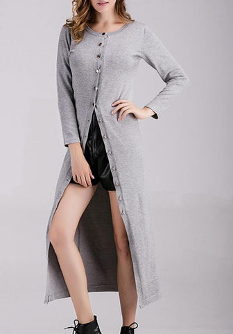 Grey Single Breasted Round Neck Long Sleeve Cardigan Sweater