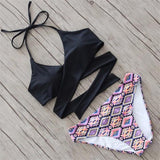 Black Patchwork Condole Belt 2-in-1 Tie Back Fashion Swimwear