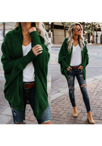 Green Plain Irregular Long Sleeve Casual Cardigan Sweater