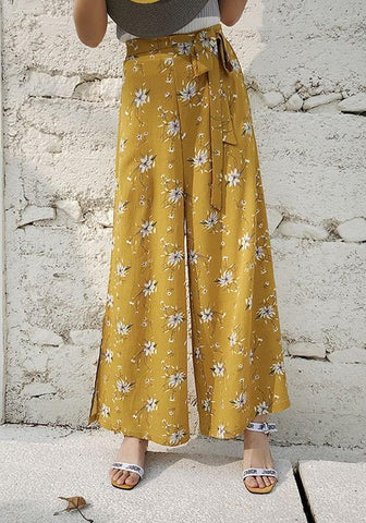 New Yellow Floral Sashes Double Slit Bohemian Wide Leg Long Pants