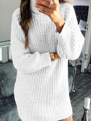 White Plain High Neck Long Sleeve Going out Mini Dress
